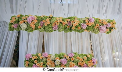 Wedding Decorations With Flowers In The Restaurant Hall. Beautiful Hall For Ceremonies And Weddings. Interior Of A Wedding Hall Decoration.