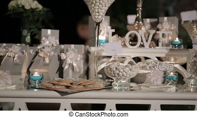 Wedding design Candy bar in the restaurant