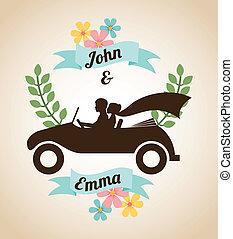 wedding design over  beige background vector illustration