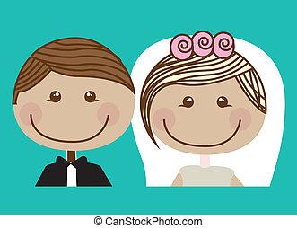 Wedding design over blue background, vector illustration