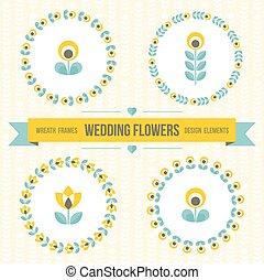 Wedding design elements - frames and flowers