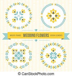 Wedding design elements - frames and flowers