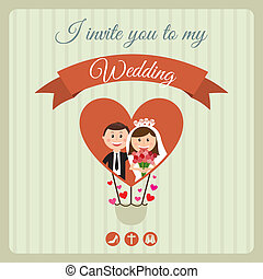 wedding design over lineal background vector illustration