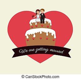 Wedding design over white background vector illustration -...
