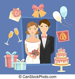 Wedding Design Set of Elements with Just Married, Cake, Rings and Gifts