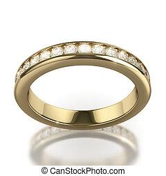 wedding, diamantring, weiß, hintergrund, -, ausschnitt weg