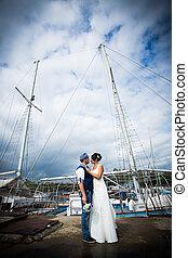 wedding, dock, yacht
