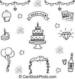 Wedding doodle vector illustration