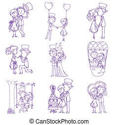 Wedding Doodles - Design Elements - for Scrapbook, Invitation in vector