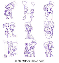 Wedding Doodles - Design Elements - for Scrapbook, Invitation in vector