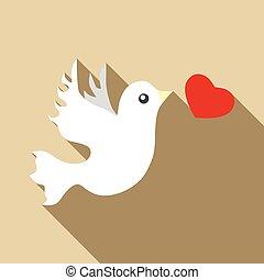 Wedding dove icon, flat style