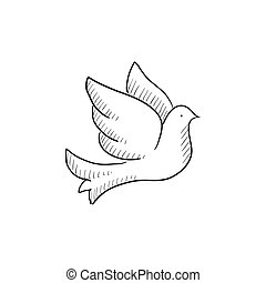 Dove sketch. Vector illustration of flying dove on white ...