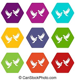 Wedding doves icon set color hexahedron