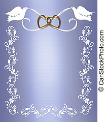 Wedding Doves on Blue Satin - invitation, Frame, Valentine...