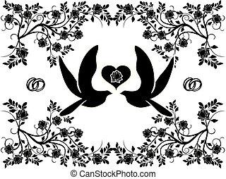 wedding doves with flourishes 3