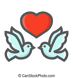Wedding doves with heart filled outline icon, valentines day and romantic, wedding sign vector graphics, a colorful line pattern on a white background, eps 10.