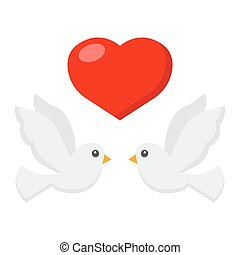 Wedding doves with heart flat icon, valentines day and romantic, wedding sign vector graphics, a colorful solid pattern on a white background, eps 10.