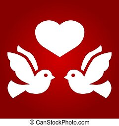 Wedding doves with heart glyph icon, valentines day and romantic, wedding sign vector graphics, a solid pattern on a red background, eps 10.