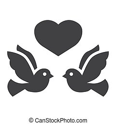 Wedding doves with heart glyph icon, valentines day and romantic, wedding sign vector graphics, a solid pattern on a white background, eps 10.