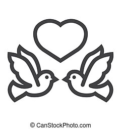 Wedding doves with heart line icon, valentines day and romantic, wedding sign vector graphics, a linear pattern on a white background, eps 10.
