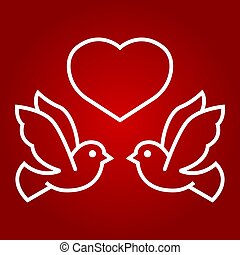 Wedding doves with heart line icon, valentines day and romantic, wedding sign vector graphics, a linear pattern on a red background, eps 10.