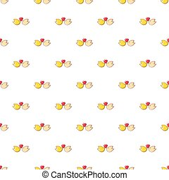 Wedding doves with heart pattern seamless