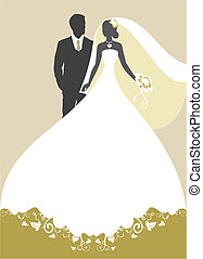 wedding - Invitation cards with the bride in a veil