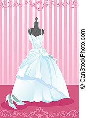 Wedding dress - A vector illustration of a wedding dress and...