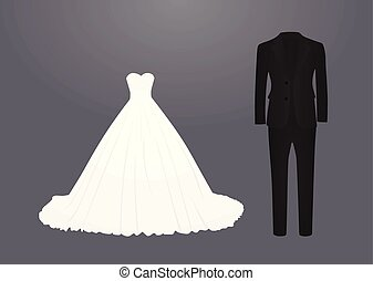 Wedding dress and suit