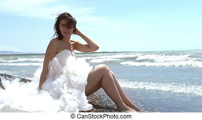 Wedding Dress - Beautiful brunette in a wedding dress...