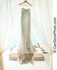 Wedding Dress - Beautiful wedding dress hanging in the...