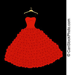 wedding dress - red wedding dress with roses on the hanger