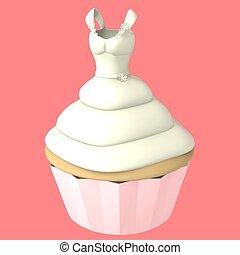 Wedding dress cupcake - 3d computer generated