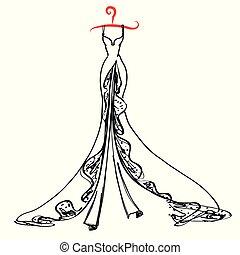 wedding dress design, black and white,blue