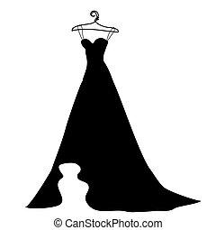 wedding dress design, black, on a white