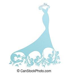 wedding dress design, blue and white