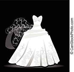 Wedding dress design vector logo