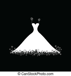 Wedding dress - White wedding dress on a black background. A...