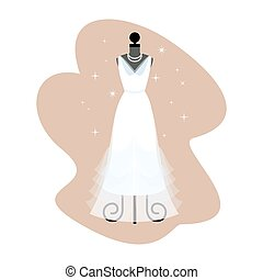 Wedding Dress. Fashionable white gown on mannequin. Bride apparel. Vector.