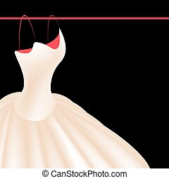 Wedding dress isolated on black background realistic vector illustration