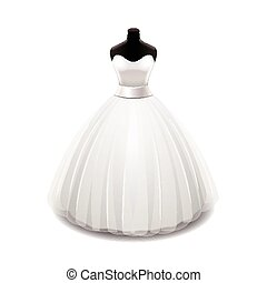 Wedding dress isolated on white vector - Wedding dress...