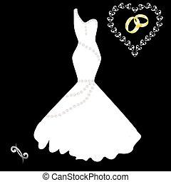 wedding dress on a black background