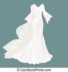 wedding dress on a dark background.