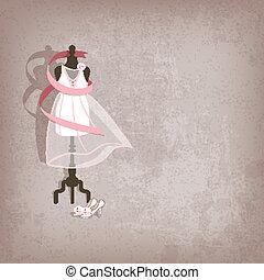 wedding dress on grungy background - vector illustration. ...