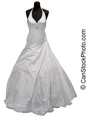 Wedding dress on mannequin isolated on white