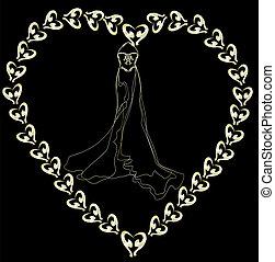 wedding dress outline on a black ba