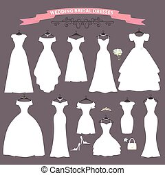 Wedding dress set.Flat design.Bridal shower - The...