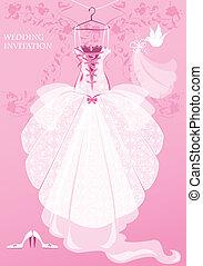 Wedding Dress, shoes and bridal veil on pink background. Wedding invitation card.