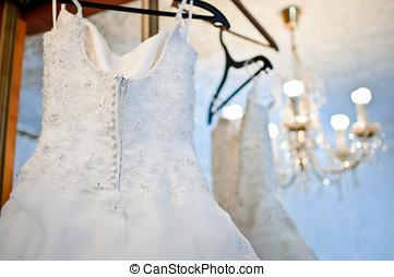 wedding dress - closeup of a beautiful white wedding dress...