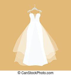 Wedding Dress Vector Illustration in Flat Design
